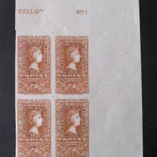 Sellos: EDIFIL 1080, BLOQUE DE 4, NUEVO, SIN CHARNELA, PERFECTO. CENTENARIO DEL SELLO ESPAÑOL (AÑO 1950).. Lote 142243354