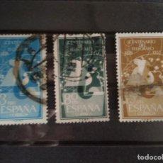 Sellos: EDIFIL 1180/82 CENTENARIO DEL TELEGRAFO SERIE COMPLETA USADOS ESPAÑA 1955. Lote 142298526