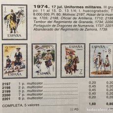 Sellos: AÑO 1974. UNIFORMES MILITARES. Nº2197/01. Lote 143075861