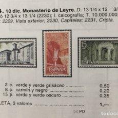 Sellos: AÑO 1974. MONASTERIO DE LEYRE. Nº 2229/31. Lote 143080246