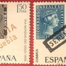 Sellos: ESPAÑA.1968, DÍA MUNDIAL DEL SELLO. DOS VALORES: 1'50 PTS. Y 3'50 PTS. (Nº 1869-1870 EDIFIL). . Lote 143898682