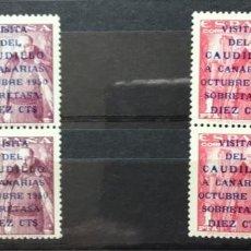 Sellos: ESPAÑA 1951 - VISITA DEL CAUDILLO A CANARIAS. BLOQUES DE 4. CERTIFICADO CEM. - EDIFIL 1088/1089. Lote 144272006