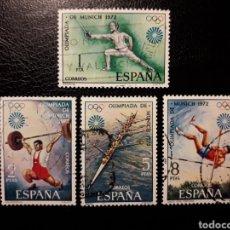 Timbres: ESPAÑA. EDIFIL 2098/101. SERIE COMPLETA USADA. DEPORTES. OLIMPIADA DE MÚNICH. 1972.. Lote 144416430
