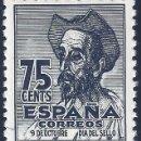 Sellos: EDIFIL 1013 CENTENARIO DEL NACIMIENTO DE CERVANTES 1947 (VARIEDAD...1013T Y 1013M). LUJO. MNH **. Lote 145979146