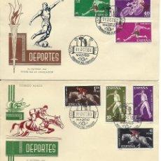 Sellos: 4 SOBRES CANCELADOS CON EL PRIMER DIA DEPORTES 1960 EDIFIL 1306/1319. Lote 146154342
