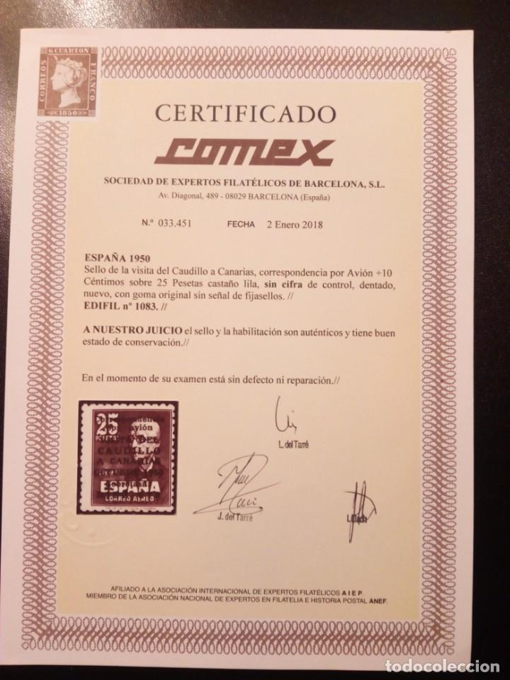 Sellos: EDIFIL 1093.VISITA DEL CAUDILLO A CANARIAS CON SOBRECARGA.CERTIFICADO COMEX.CATÁLOGO 6.000€ - Foto 3 - 146422150