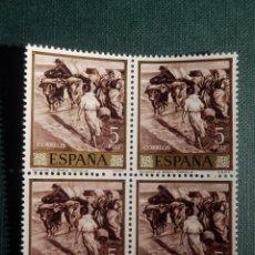 Sellos: SELLO - JOAQUIN SOROLLA, SACANDO LA BARCA - EDIFIL 1574 - AÑO 1964 - 5 PESETAS - BLOQUE DE 4. Lote 146704030