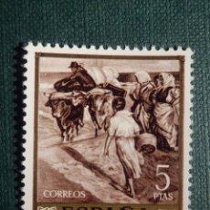 Sellos: SELLO - JOAQUIN SOROLLA, SACANDO LA BARCA - EDIFIL 1574 - AÑO 1964 - 5 PESETAS - . Lote 146704054