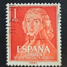 Sellos: ESPAÑA - RETRATO DE MORATÍN, GOYA - 1 PTA - 1961. Lote 147512782