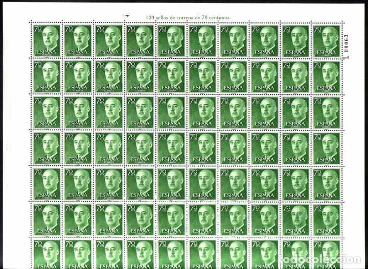 AÑO 1955 - EDIFIL 1151 - GENERAL FRANCO - VALOR DE 0,70 PESETAS. PLIEGO COMPLETO DE 100 SELLOS (Sellos - España - II Centenario De 1.950 a 1.975 - Nuevos)