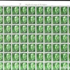 Sellos: AÑO 1955 - EDIFIL 1151 - GENERAL FRANCO - VALOR DE 0,70 PESETAS. PLIEGO COMPLETO DE 100 SELLOS. Lote 121893499