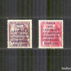 Sellos: 1088/89 VISITA CAUDILLO A CANARIAS TERRESTRE 1951 NUEVOS CENTRADO NORMAL. Lote 148211106