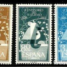 Sellos: AÑO 1955 Nº EDIFIL 1180/1182 I CENTENARIO DEL TELEGRAFO. VALOR CATALOGO 28 €. Lote 152007482