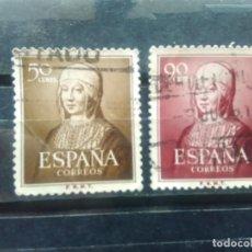 Sellos: EDIFIL 1092 Y 1094 DE LA SERIE: V CENTENARIO DEL NACIMIENTO DE ISABEL LA CATÓLICA. AÑO 1951. Lote 152392034