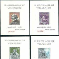 Sellos: ESPAÑA 1961 EDIFIL 1344-1347 III CENTENARIO DE VELÁZQUEZ NUEVOS SIN CHARNELA. Lote 152508762