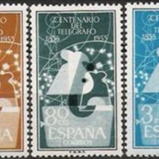 Sellos: ESPAÑA 1955 EDIFIL 1180-1182 CENTENARIO DEL TELÉGRAFO NUEVOS SIN CHARNELA. Lote 152509105