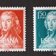 Timbres: ESPAÑA - EDIFIL 1328/29 - 1961 - SEGUNDO CENTENARIO DEL NACIMIENTO DE LEANDRO FERNANDEZ DE MORATIN. Lote 152641926