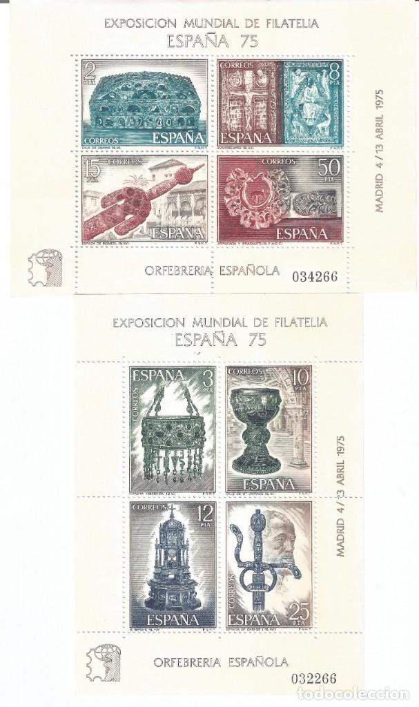 EDIFIL 2252-2253 EXPOSICIÓN MUNDIAL DE FILATELIA ESPAÑA 1975. ORFEBRERÍA ESPAÑOLA. MNH ** (Sellos - España - II Centenario De 1.950 a 1.975 - Nuevos)