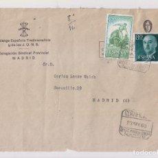 Sellos: SOBRE DE FALANGE. CERTIFICADO. DELEGACIÓN DE SINDICATOS. MADRID, 1960. Lote 155864050