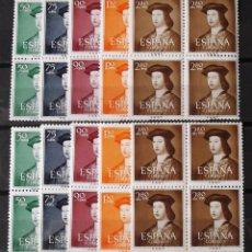 Sellos: EDIFIL 1106-10, DOS BLOQUES DE CUATRO, NUEVOS, SIN CH. FERNANDO EL CATÓLICO.. Lote 156629442