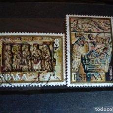 Sellos: EDIFIL 2162/63 NAVIDAD 1973, SILOS Y BUTRERA. SERIE COMPLETA SELLO USADO ESPAÑA 1973. Lote 157848774
