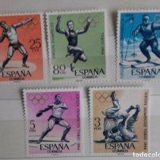 Sellos: ESPAÑA 1964, 5 SELLOS, SERIE COMPLETA, JUEGOS OLIMPICOS . Lote 159034990