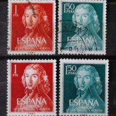 Sellos: 1328-29, DOS SERIES, USADAS. FERNÁNDEZ DE MORATÍN.. Lote 159470558