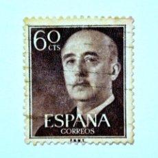 Sellos: SELLO POSTAL ESPAÑA 1955, 60 CTS, GENERAL FRANCO, USADO. Lote 159596886