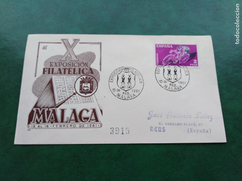 SOBRE PRIMER DÍA ESPAÑA X EXPOSICIÓN FILATELICA MÁLAGA 1961 (Sellos - España - II Centenario De 1.950 a 1.975 - Cartas)