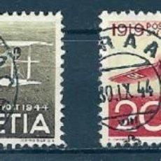 Sellos: SUIZA - SCHWEIZ - 25 AÑOS CORREO AÉREO - Nº 435 + 436 - USADOS. Lote 162609302