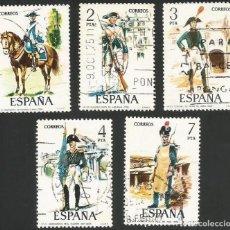 Sellos: ESPAÑA 1975 - ES 2277 A 2281 - UNIFORMES MILITARES (V) - SERIE USADA. Lote 162954326