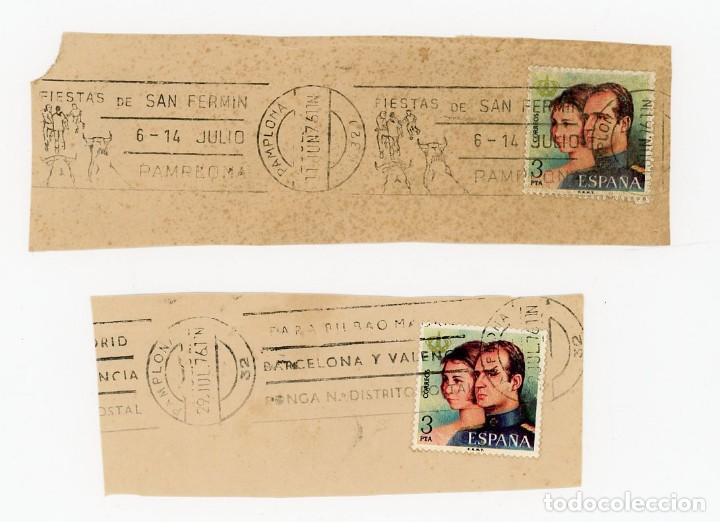 3 PTA 1976 JUAN CARLOS Y SOFIA. MATASELLOS FIESTAS SAN FERMIN PAMPLONA. SANFERMINES. TRANSICIÓN (Sellos - España - II Centenario De 1.950 a 1.975 - Cartas)