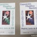 Sellos: EDIFIL 1222 1223 HOJITAS EXPOSICIÓN FILATÉLICA NACIONAL 1958, CAT 86€, NUEVAS SIN FIJASELLOS. Lote 163571914