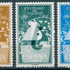 Sellos: ESPAÑA 1955 EDIFIL 1180/82 ** - I CENTENARIO DEL TELÉGRAFO. SERIE COMPLETA.. Lote 165055828