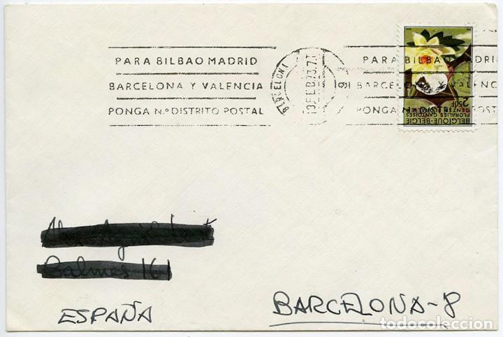 CARTA CON SELLO DE BÉLGICA MATASELLADO POR ERROR EN BARCELONA 1973 (Sellos - España - II Centenario De 1.950 a 1.975 - Cartas)