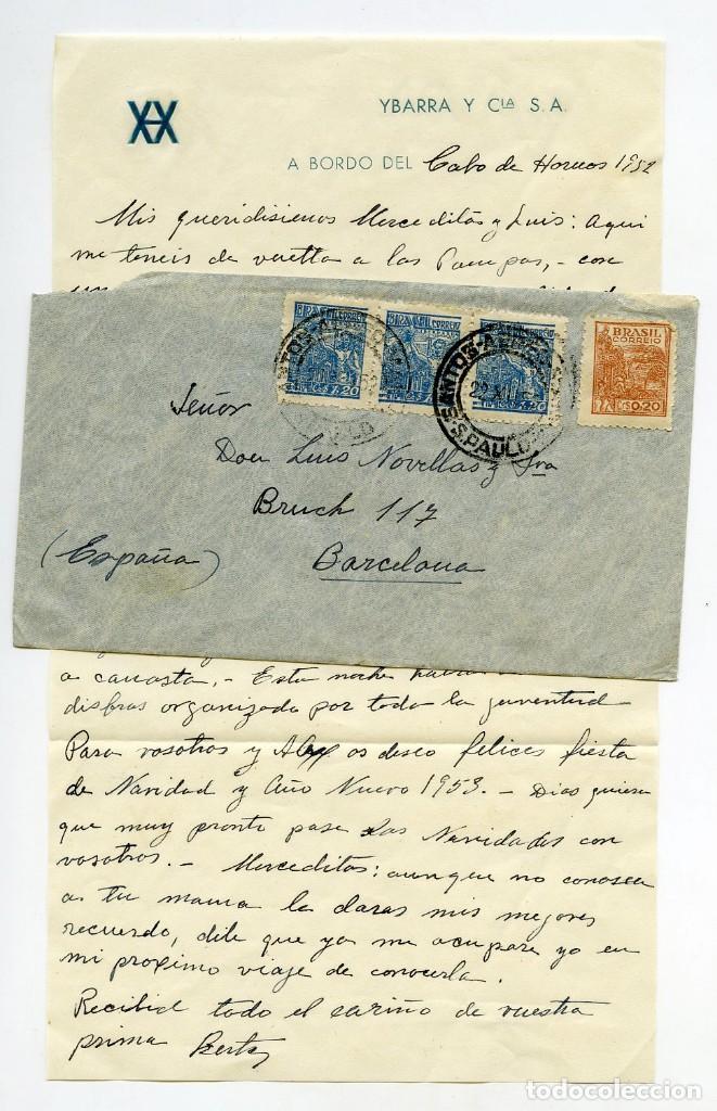 CARTA DESDE A BORDO DEL BUQUE CABO DE HORNOS DE YBARRA EN RUTA DESDE BRASIL, 1952 (Sellos - España - II Centenario De 1.950 a 1.975 - Cartas)