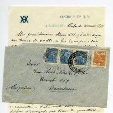 Sellos: CARTA DESDE A BORDO DEL BUQUE CABO DE HORNOS DE YBARRA EN RUTA DESDE BRASIL, 1952. Lote 166627150