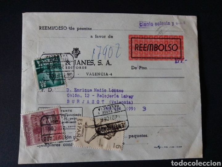 CARTA CERTIFICADA PARA REEMBOLSO CON LETRA DE CAMBIO. AÑO 1966. PLAZA & JANES. (Sellos - España - II Centenario De 1.950 a 1.975 - Cartas)