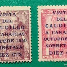 Sellos: 1951. VISITA CAUDILLO CANARIAS. ED. 1088/1089**.. Lote 168389286