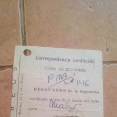 Sellos: RESGUARDO CORREOS CERTIFICADO, CON SELLO MUTUALIDAD DE CORREOS, MUTUALIDAD POSTAL - AÑOS 50,60. Lote 169954680