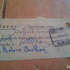 Sellos: RESGUARDO CORREOS CERTIFICADO, CON SELLO MUTUALIDAD DE CORREOS, MUTUALIDAD POSTAL - AÑOS 50,60. Lote 169954748