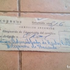 Sellos: RESGUARDO CORREOS CERTIFICADO, CON SELLO MUTUALIDAD DE CORREOS, MUTUALIDAD POSTAL - AÑOS 50,60. Lote 169955220