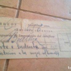 Sellos: RESGUARDO CORREOS CERTIFICADO, CON SELLO MUTUALIDAD DE CORREOS, MUTUALIDAD POSTAL - AÑOS 50,60. Lote 169955264