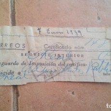 Sellos: RESGUARDO CORREOS CERTIFICADO, CON SELLO MUTUALIDAD DE CORREOS, MUTUALIDAD POSTAL - AÑOS 50,60. Lote 169955340