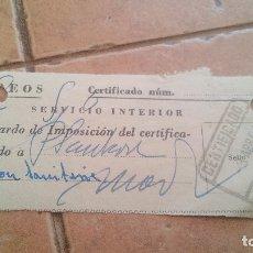 Sellos: RESGUARDO CORREOS CERTIFICADO, CON SELLO MUTUALIDAD DE CORREOS, MUTUALIDAD POSTAL - AÑOS 50,60. Lote 169955368