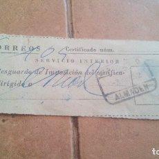 Sellos: RESGUARDO CORREOS CERTIFICADO, CON SELLO MUTUALIDAD DE CORREOS, MUTUALIDAD POSTAL - AÑOS 50,60. Lote 169957200