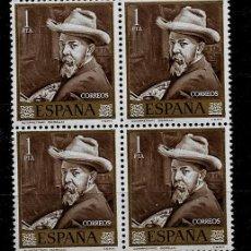 Sellos: II CENTENARIO - JOAQUIN SOROLLA - DIA DEL SELLO - EDIFIL 1570 - BLOQUE DE CUATRO - 1964. Lote 170890050