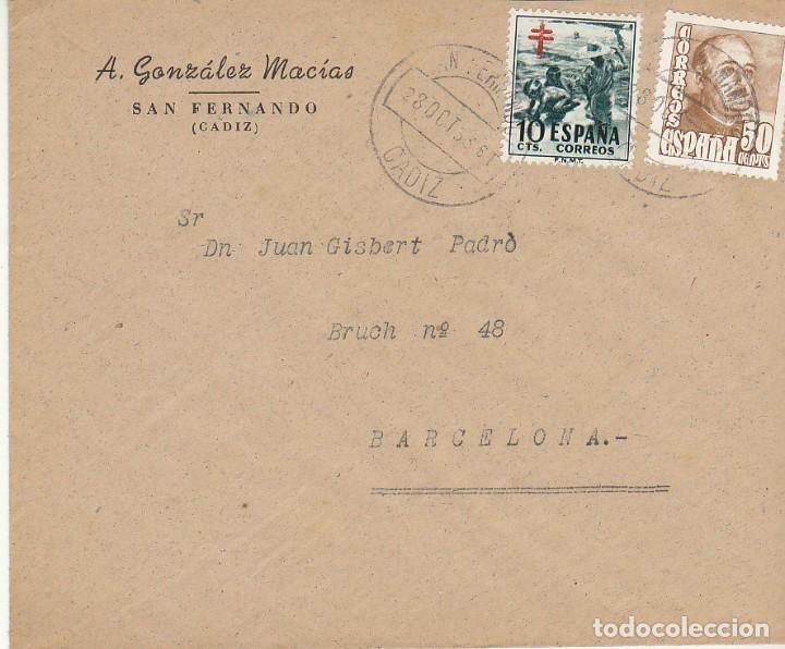 SAN FERNANDO (CADIZ) A ALMERIA. 1953 (Sellos - España - II Centenario De 1.950 a 1.975 - Cartas)