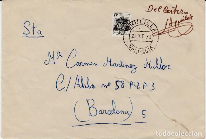 SOBRE FRANQUEADO CON SELLO DE MUTUALIDAD POSTAL EN CHULILLA -XULILLA- VALENCIA (Sellos - España - II Centenario De 1.950 a 1.975 - Cartas)