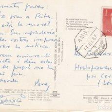 Sellos: TARJETA CON SELLO DE FRANCO Y MATASELLOS AMBULANTE LA TOUR DE CAROL A BARCELONA.. Lote 172925473